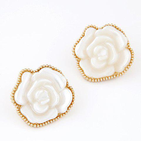Pair of Glamourous White Rose Shape Women's Earrings - WHITE