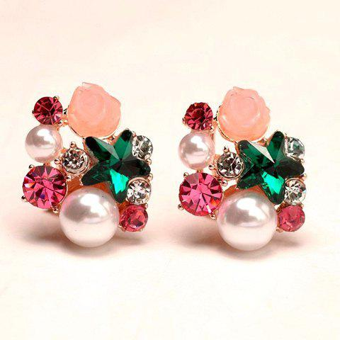 Pair of Women's Glamourous Secondary Color Gemstone Embellished Earrings - COLORMIX