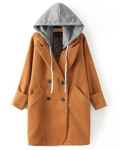 Simple Hooded Detachable Double Pockets Worsted Long Sleeve Coat For Women - CAMEL S