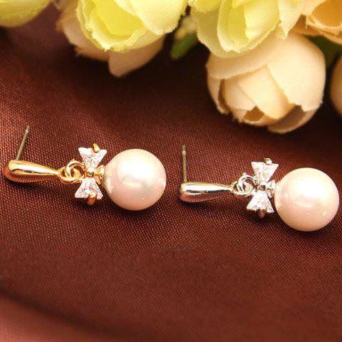 Pair of Stylish Cute Women's Pearl Bowknot Rhinestone Earrings - COLOR ASSORTED