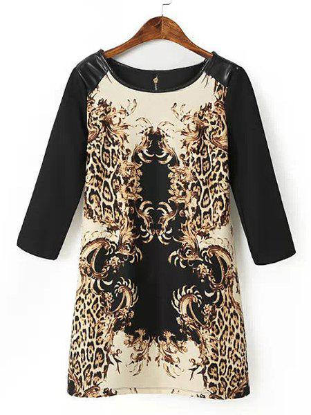 Sexy Floral Print Round Collar PU Leather Splicing 3/4 Sleeve Dress For Women