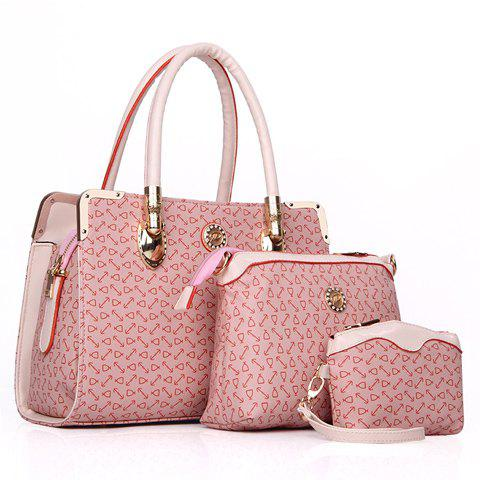 Fashion Metallic Hasp and Print Design Shoulder Bag For Women - PINK