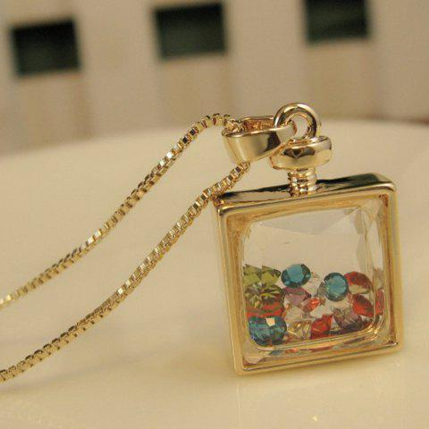 Faux Crystal Embellished Perfume Bottle Pendant Necklace - AS THE PICTURE
