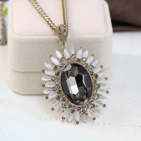 Stylish Women's Faux Gem Sunflower Sweater Chain Necklace