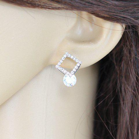 Pair of Stylish Delicate Women's Rhinestone Openwork Square Shape Earrings - SILVER