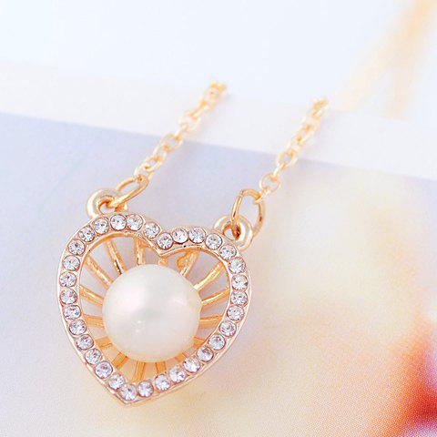 Fashion Faux Pearl Embellished Heart Shape Pendant Necklace For Women - GOLDEN
