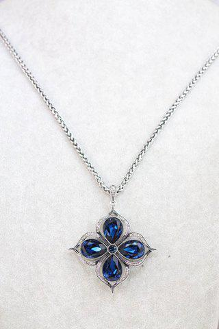 Stylish Chic Women's Gem Rhinestone Openwork Leaf Sweater Chain Necklace - COLOR ASSORTED