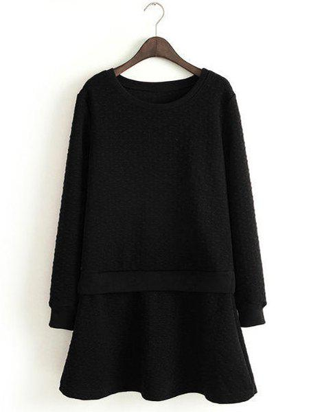 Refreshing Candy Color Round Collar Long Sleeve Dress For Women - BLACK M