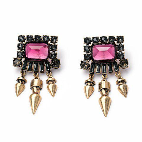Pair of Women's Glamourous Rivet Embellished Special Shape Earrings - PINK