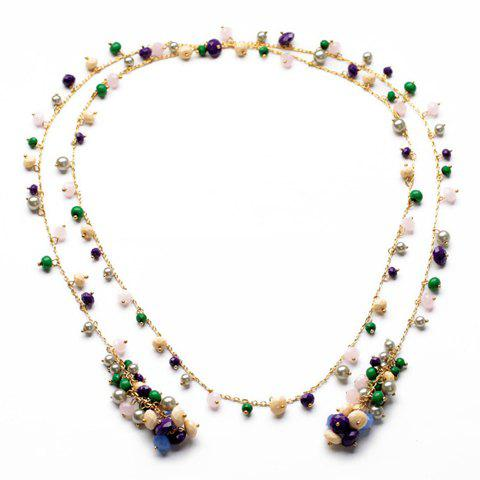 Glamourous Women's Secondary Color Beads Embellished Sweater Chain Necklace