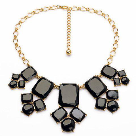 Glamourous Women's Black Faux Gem Embellished Necklace