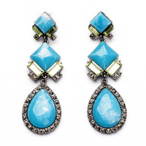Pair of Noble Solid Color Faux Gem Embellished Women's Earrings - BLUE