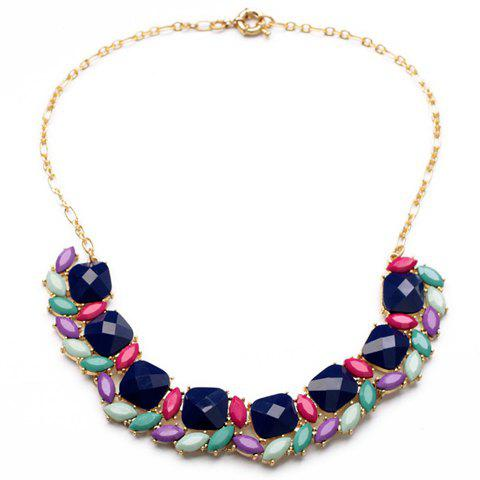 Chic Women's Candy Color Faux Gem Embellished Necklace