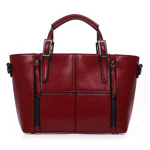 Stylish Zipper and Checked Design Solid Color Tote Bag For Women - WINE RED