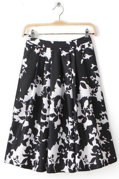 Abstract Print High Waisted Flouncing A-Line Fashionable Women's Skirt - BLACK M