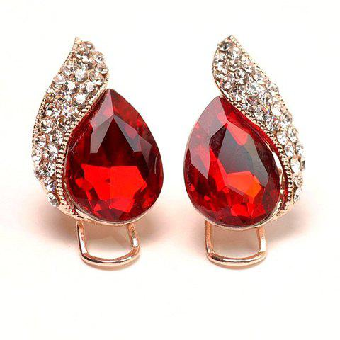 Pair of Noble Waterdrop Shape Gem Embellished Women's Earrings - RED