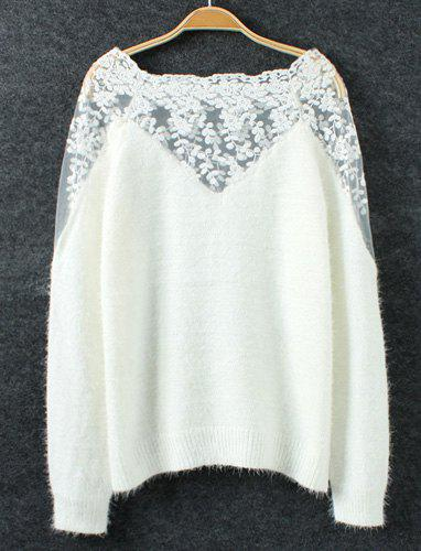 Trendy Style Long Sleeve Lace Floral Embroidery Splicing Mohair Women's Sweater - WHITE ONE SIZE(FIT SIZE XS TO M)