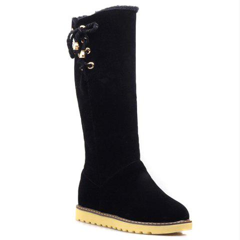 Preppy Turnover and Lace-Up Design Women's Suede Boots - BLACK 38