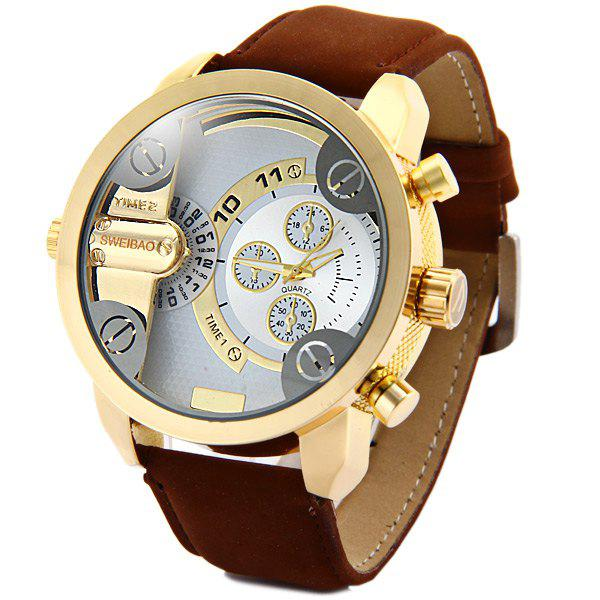 Shiweibao A3132 Dual Movt Male Quartz Watch Leather Strap Round Dial - BROWN