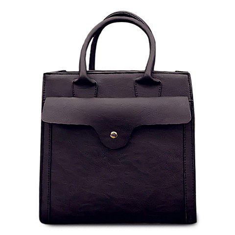 Laconic PU Leather and Solid Color Design Tote Bag For Women - BLACK