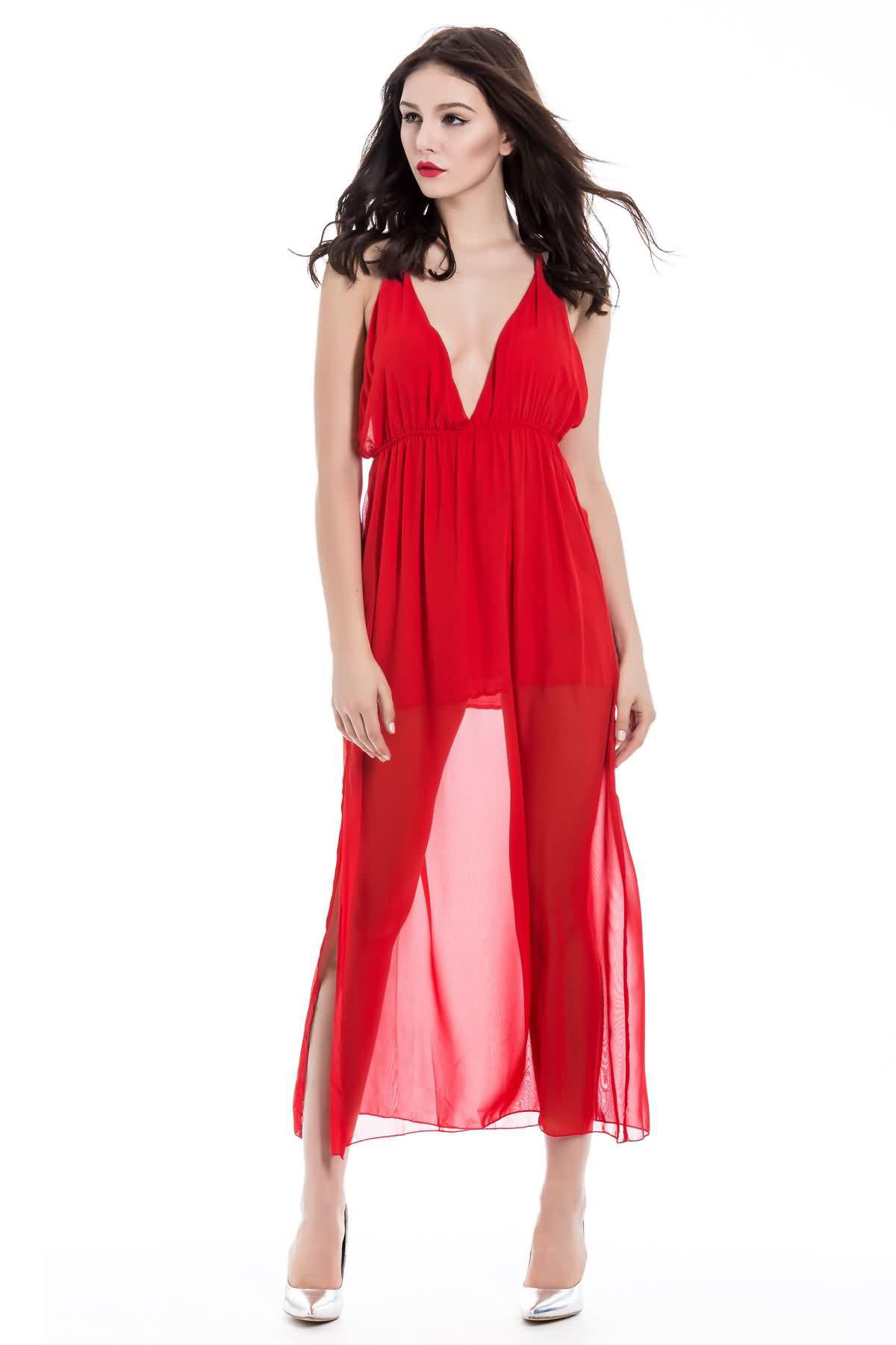 Alluring Slit Side Design Sleeveless Backless Plunging Neck Red Color Spaghetti Strap Dress - RED S