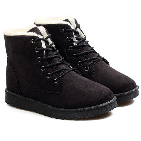 Simple Solid Color and Lace-Up Design Snow Boots For Women - BLACK 39