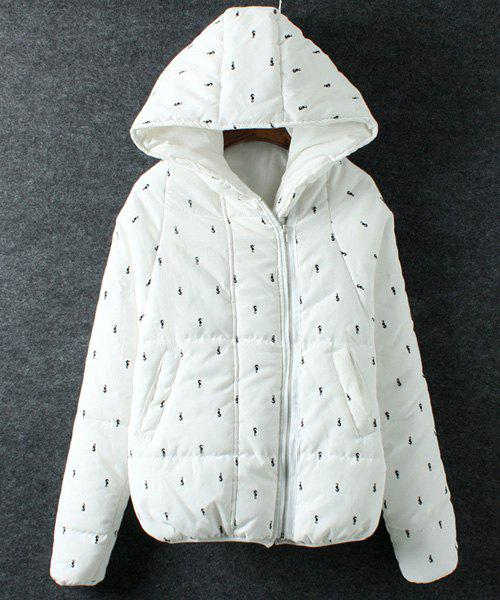 Cute Animals Pattern Hooded Long Sleeve Coat For Women - WHITE ONE SIZE(FIT SIZE XS TO M)