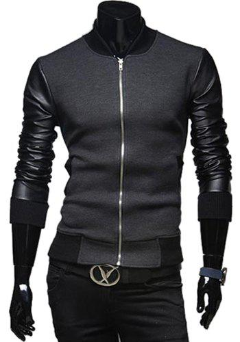 Fashion PU Leather Splicing Stand Collar Long Sleeve Slimming Men's Woolen Jacket - DEEP GRAY M