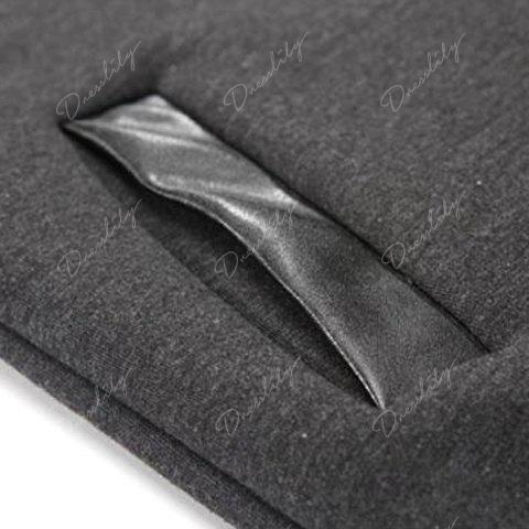 Fashion PU Leather Splicing Stand Collar Long Sleeve Slimming Men's Woolen Jacket - DEEP GRAY XL