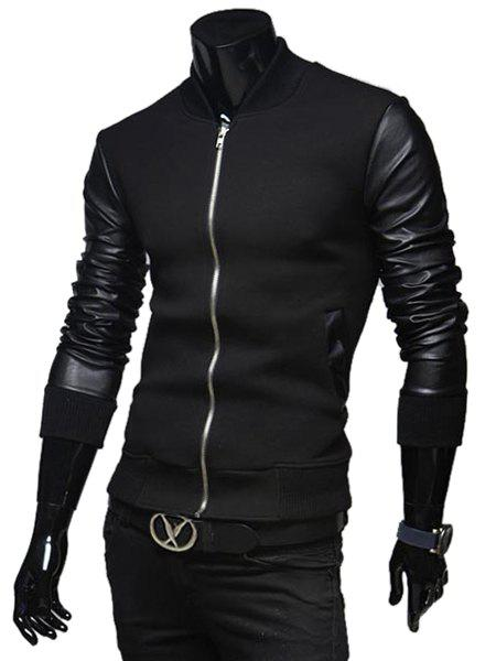 Fashion PU Leather Splicing Stand Collar Long Sleeve Slimming Men's Woolen Jacket - BLACK 2XL