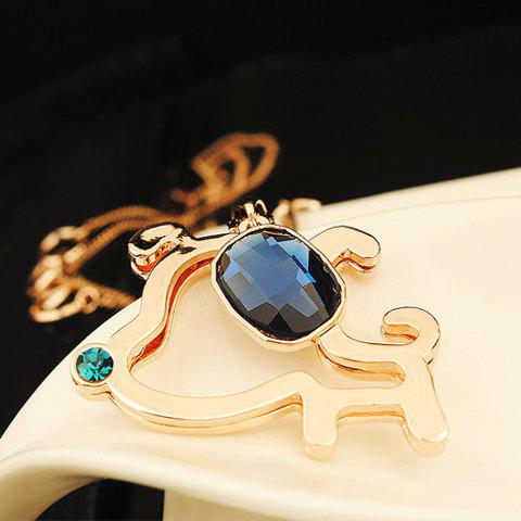Sweet Chic Women's Rhinestone Faux Gem Doggy Pendant Sweater Chain Necklace - GOLDEN