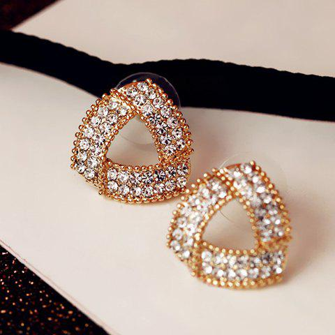 Pair of Attractive Rhinestone Embellished Triangle Shape Women's Earrings - COLORMIX