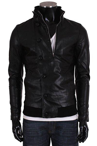 Fashion Zipper Design Button Embellished Stand Collar Long Sleeve Slimming Men's PU Leather Jacket