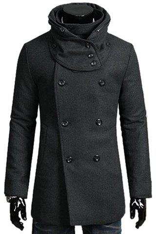 Fashion Solid Color Detachable Scarf Turndown Collar Long Sleeve Slimming Men's Polyester Trench Coat - DEEP GRAY XL