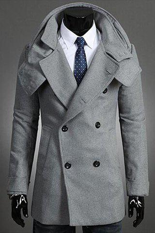 Fashion Solid Color Detachable Scarf Turndown Collar Long Sleeve Slimming Men's Polyester Trench Coat - LIGHT GRAY M
