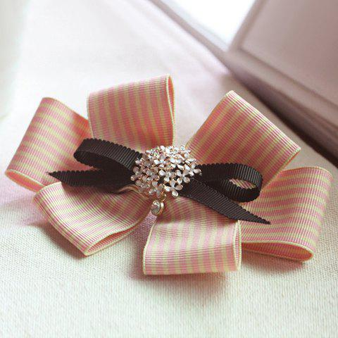 Sweet Striped Embellished Bowknot Shape Women's Hairpin -  PINK