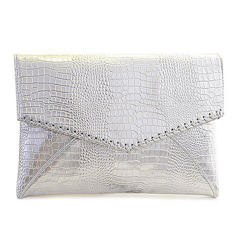 Fashionable Crocodile Print and Metallic Color Design Clutch Bag For Women