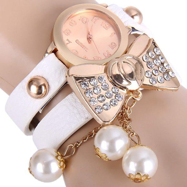 Beads Bow Quartz Wrist Watch Round Dial Leather Strap for Ladies