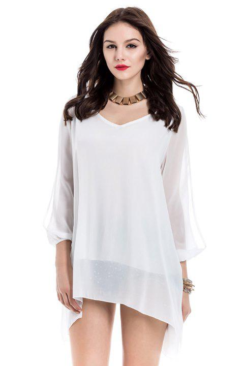 V-Neck Long Sleeve Chiffon Shift Dress - WHITE L