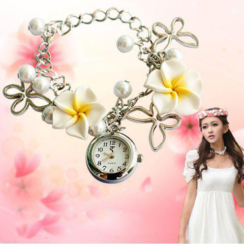 Quartz Chain Watch Beads Flower Round Dial for Women - WHITE