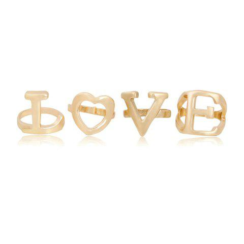 4PCS Attractive Solid Color Letter Shape Women's Rings - GOLDEN ONE-SIZE