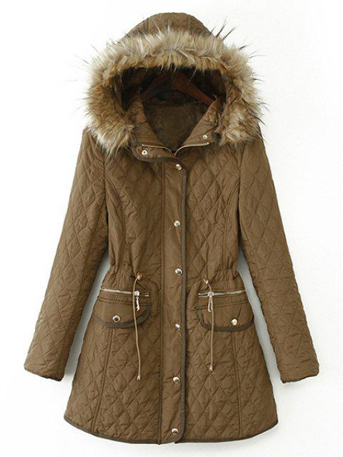 Argyle Faux Fur Draw Cord Fashionable Hooded Long Sleeve Coat For Women - KHAKI M