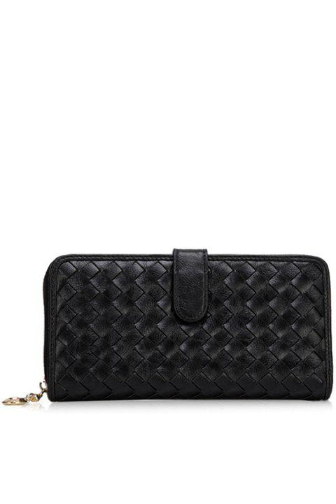 Trendy Checked and Weaving Design Women's Wallet - BLACK