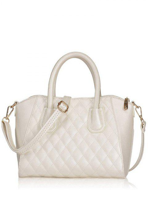 Stylish Solid Color and Checked Design Women's Tote Bag - WHITE