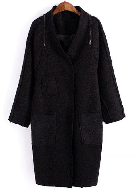 Elegant Candy Color V-Neck Zippers Embellished Long Sleeve Woolen Coat For Women - BLACK L