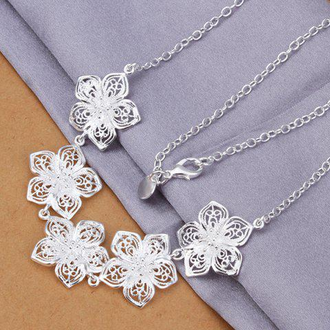Five Flowers Silver Plated Pendant Necklace -