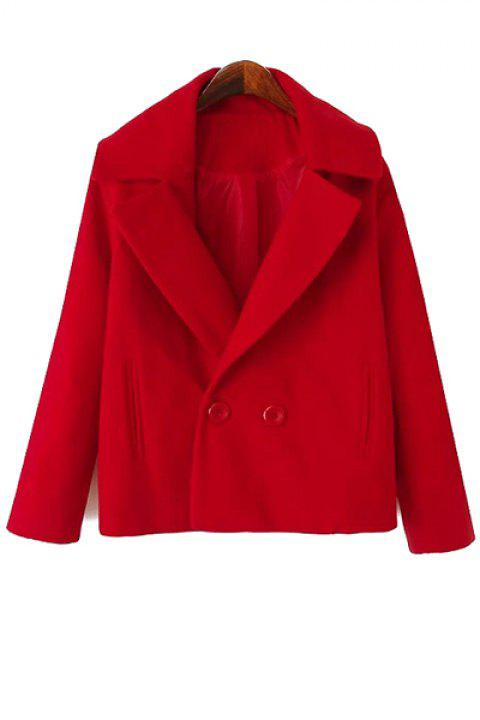 Simple Style Lapel Collar Long Sleeve Solid Color Worsted Women's Coat - RED XL