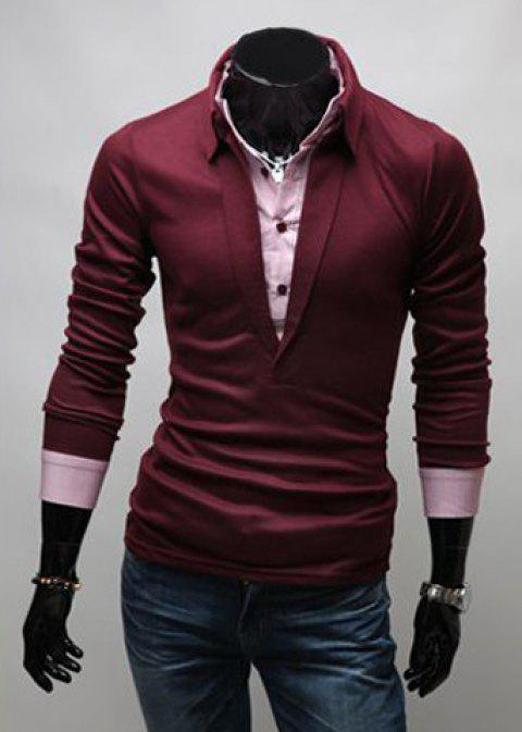 Stylish Turn-down Collar Slimming Color Block Faux Twinset Long Sleeves Men's Polo T-Shirt - WINE RED 2XL