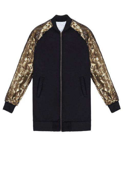 Fashionable Stand Collar Long Sleeve Sequins Splicing Women's Jacket - BLACK ONE SIZE(FIT SIZE XS TO M)