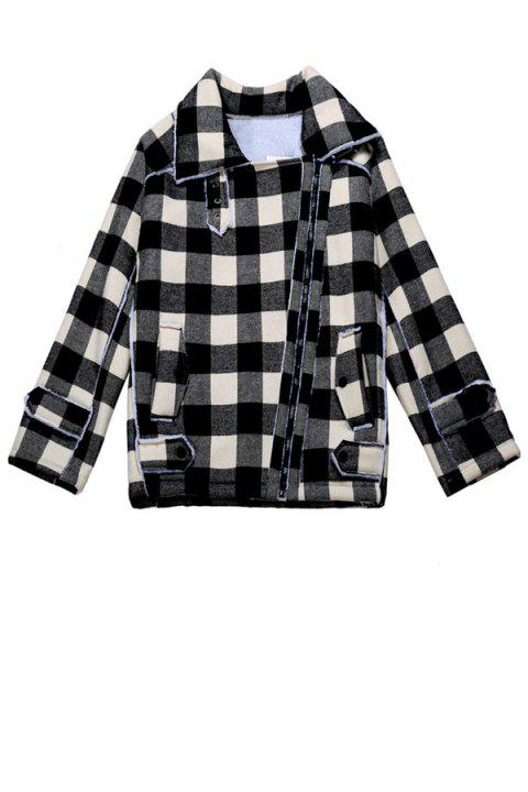 Stylish Turn-Down Collar Long Sleeve Plaid Letter Pattern Splicing Women's Jacket - WHITE ONE SIZE(FIT SIZE XS TO M)